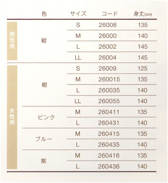 ガーゼねまきのサイズ表